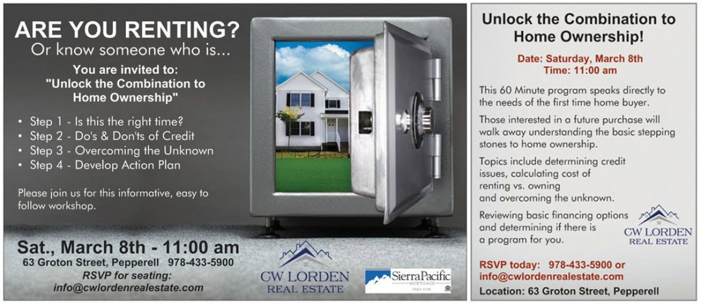 CW Lorden Home Buyer Workshop - March 8th, Pepperell, MA